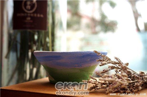 陶指艺手工陶艺水墨画系的陶土DIY陶碗