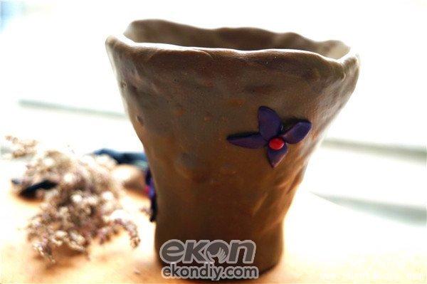 儿童陶艺手工DIY制作的简约软陶花瓶分享