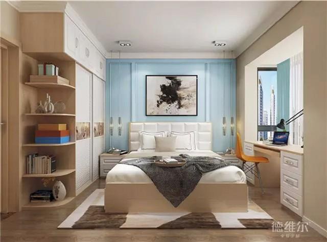 床头背景墙为蓝色护墙板打造