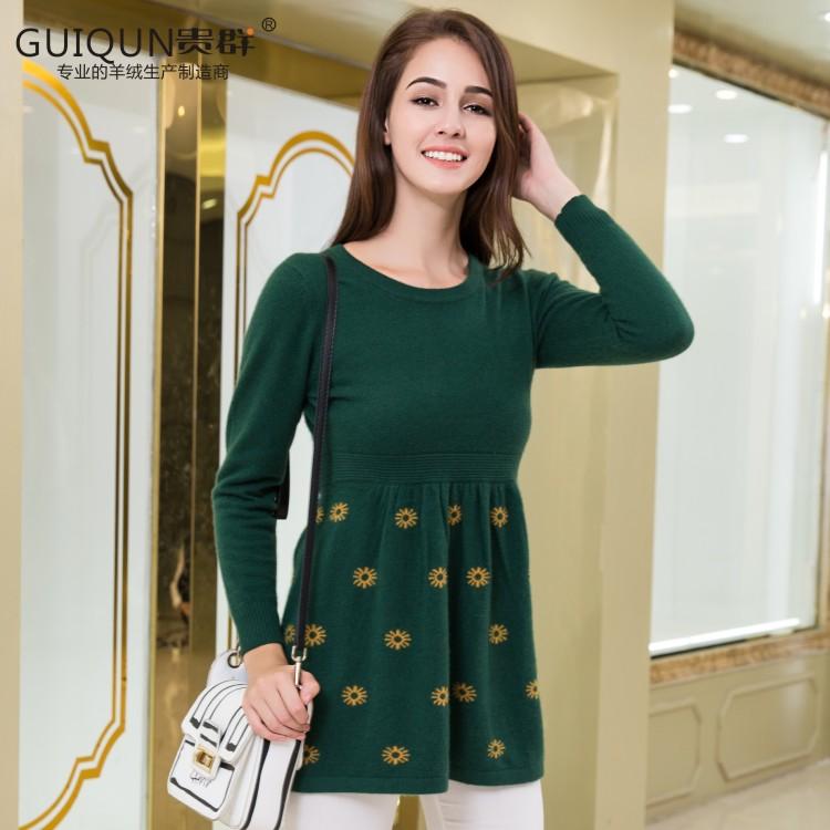 四川羊绒衫定制女装圆领套头针织衫