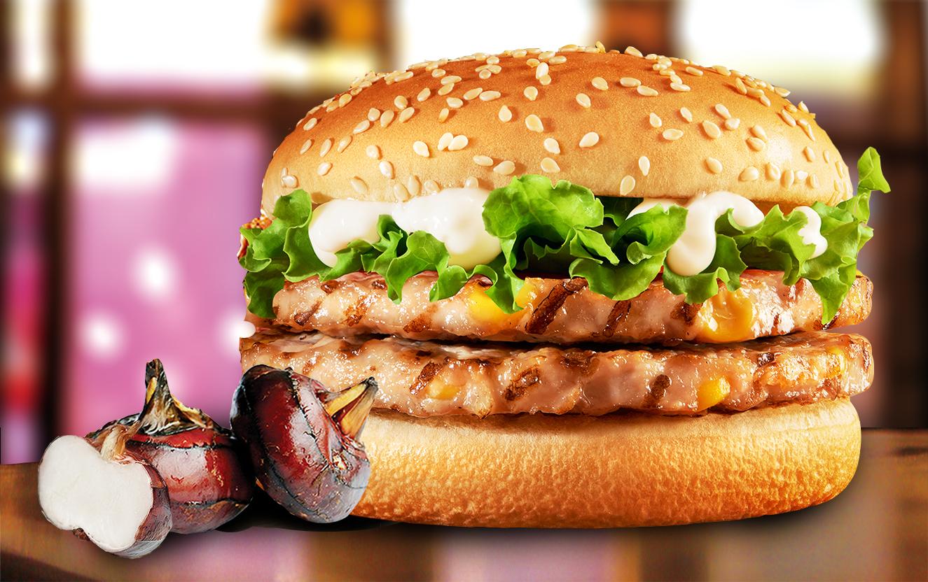 双层马蹄猪肉堡