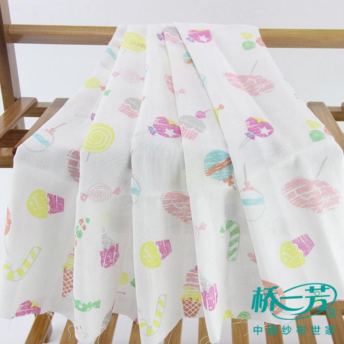 粉色棒棒糖印花纱布,双层印花纱布,婴儿服装纱布批发