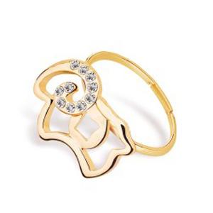 羊年爆款 镂空可爱棉羊戒指 本命年韩版时尚招财转运尾戒指 活口均码4131