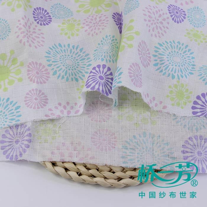 纯棉印花方格纱布-尿布纱布