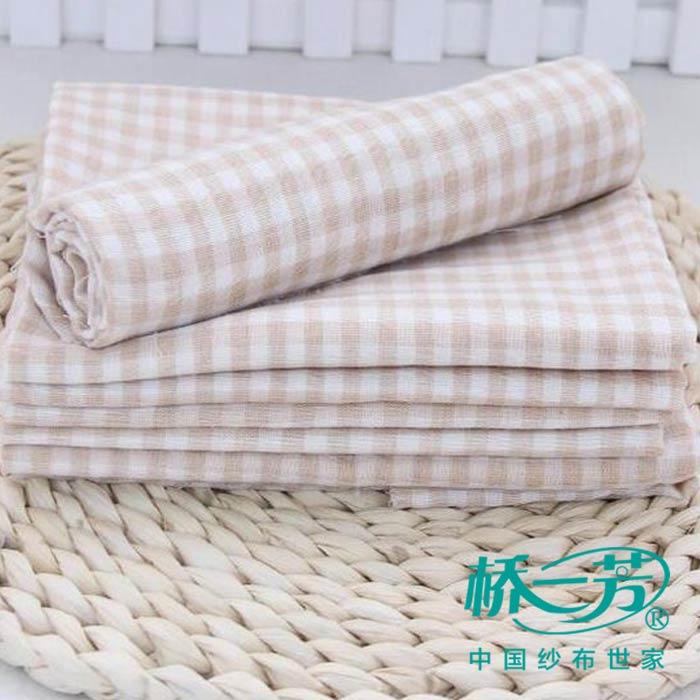 天然彩色棉方格婴儿纱布坯布