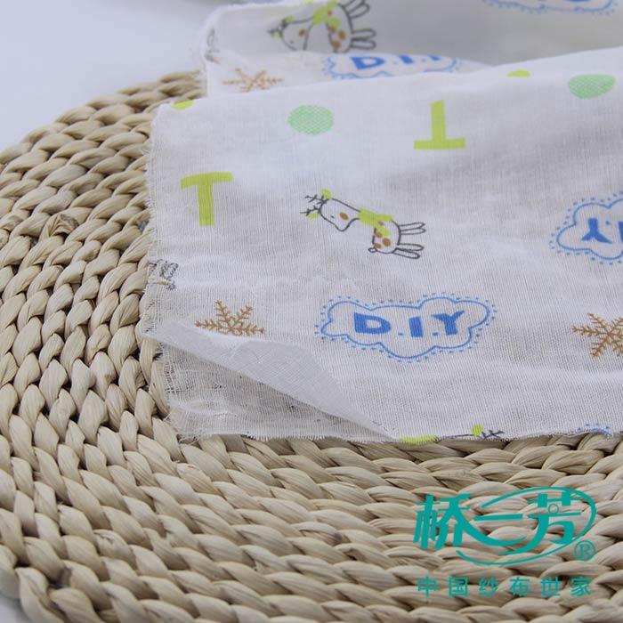 纯棉印花面料 婴儿浴巾纱布批发 diy小鹿花型