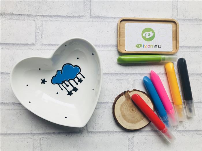 陶瓷彩绘作品-爱心碗